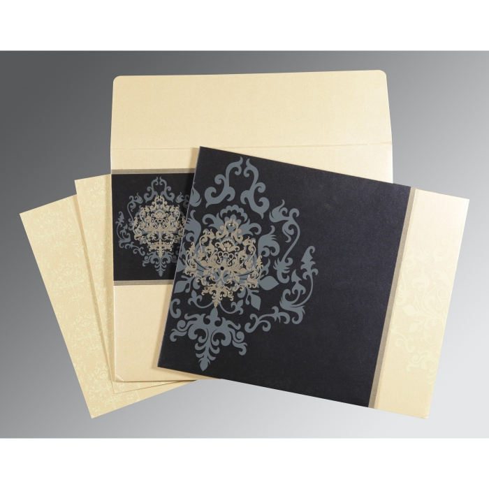 IVORY BLUE SHIMMERY DAMASK THEMED - SCREEN PRINTED WEDDING CARD : C-8253D - 123WeddingCards