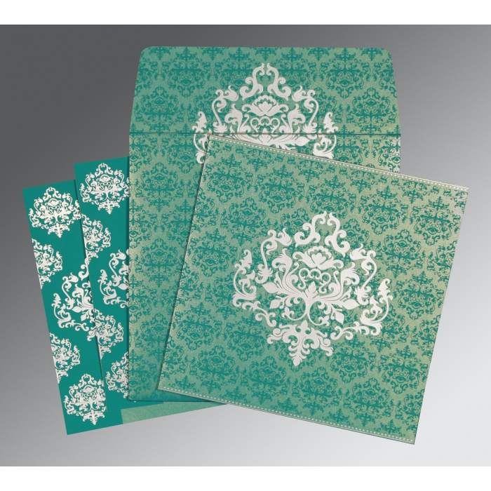 TURQUOISE SHIMMERY DAMASK THEMED - SCREEN PRINTED WEDDING CARD : C-8254E - 123WeddingCards