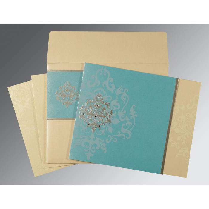 IVORY TURQUOISE SHIMMERY DAMASK THEMED - SCREEN PRINTED WEDDING CARD : D-8253E - 123WeddingCards