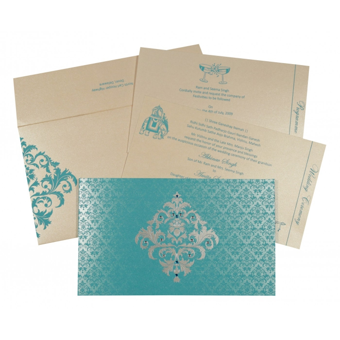 Blue Shimmery Damask Themed - Screen Printed Wedding Card : D-8257E - 123WeddingCards
