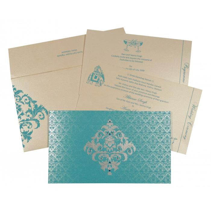 Blue Shimmery Damask Themed - Screen Printed Wedding Card : I-8257E - 123WeddingCards