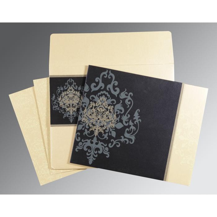 Blue Shimmery Damask Themed - Screen Printed Wedding Card : RU-8253D - 123WeddingCards