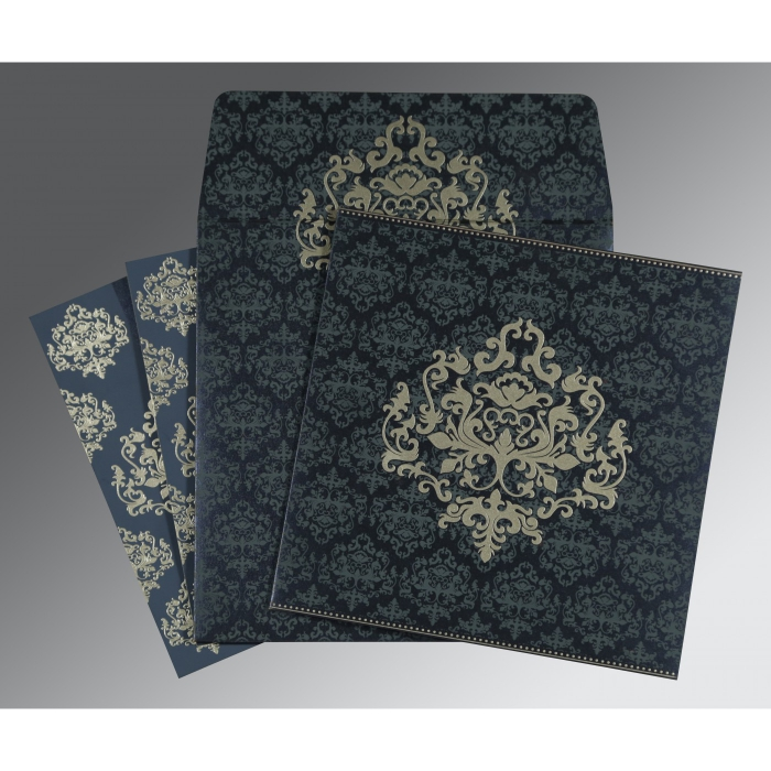 Blue Shimmery Damask Themed - Screen Printed Wedding Card : RU-8254C - 123WeddingCards