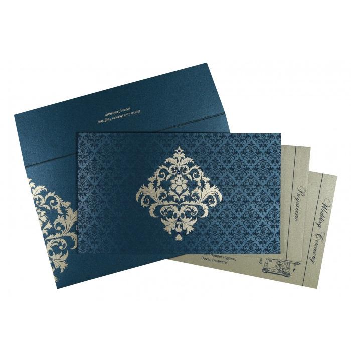Blue Shimmery Damask Themed - Screen Printed Wedding Card : RU-8257G - 123WeddingCards