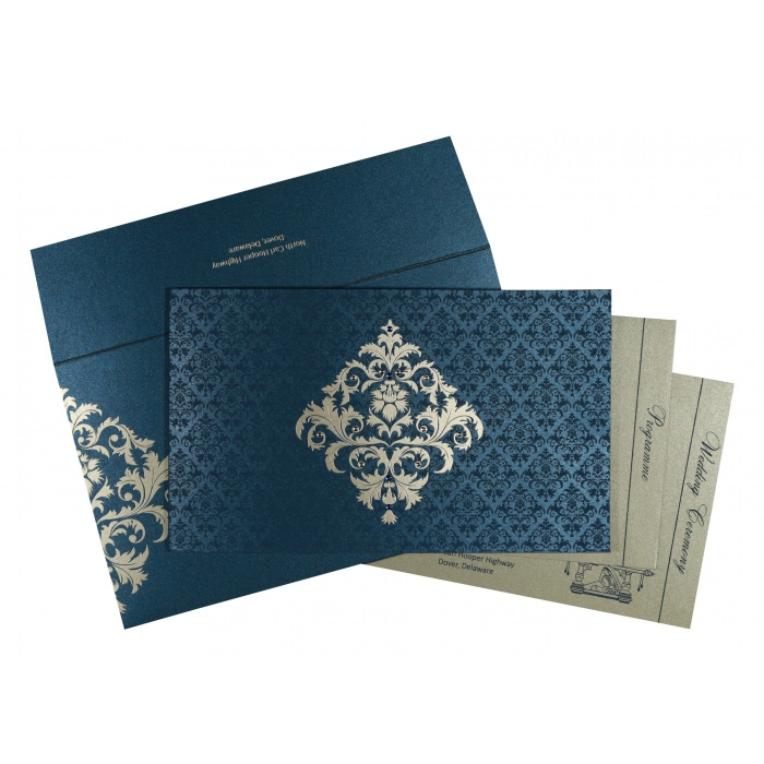 Blue Shimmery Damask Themed - Screen Printed Wedding Card : W-8257G - 123WeddingCards