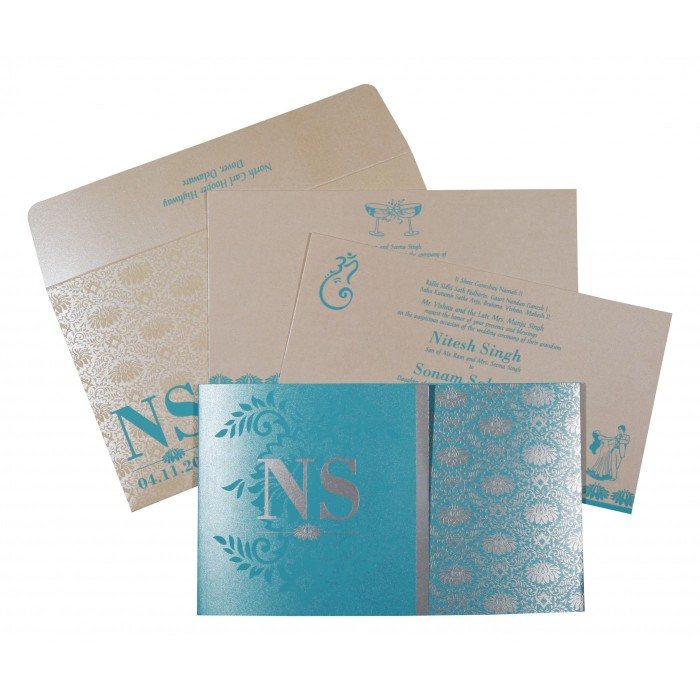 TURQUOISE SHIMMERY DAMASK THEMED - SCREEN PRINTED WEDDING INVITATION : W-8261E - 123WeddingCards