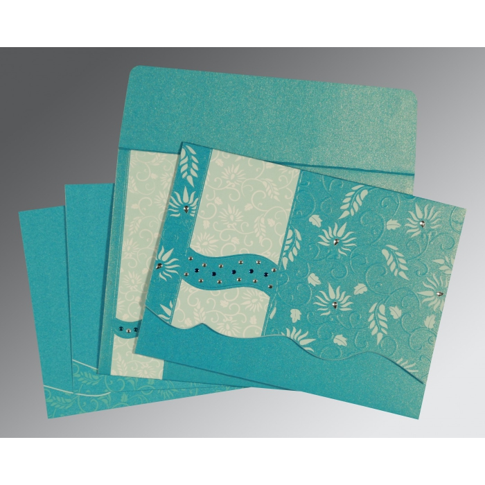 TURQUOISE BLUE SHIMMERY FLORAL THEMED - EMBOSSED WEDDING INVITATION : C-8236J - 123WeddingCards