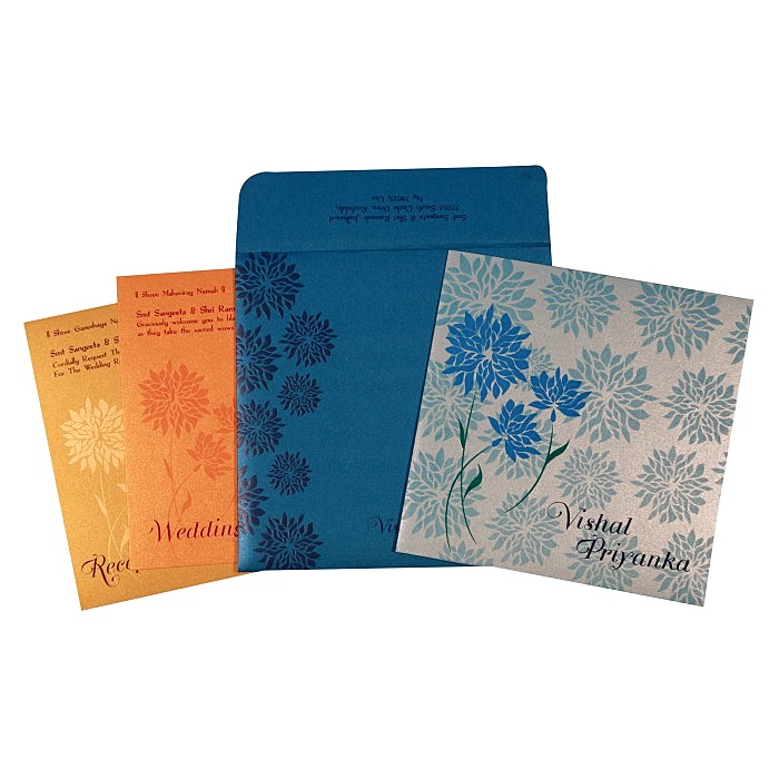 COBALT BLUE SHIMMERY FLORAL THEMED - EMBOSSED WEDDING CARD : W-1760 - 123WeddingCards