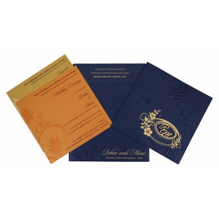 NAVY BLUE SHIMMERY FLORAL THEMED - FOIL STAMPED WEDDING INVITATION : W-1774 - 123WeddingCards