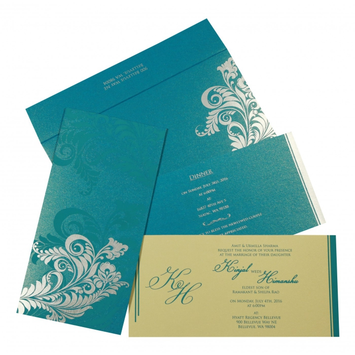 CYAN BLUE SHIMMERY FLORAL THEMED - SCREEN PRINTED WEDDING CARD : C-8259B - 123WeddingCards
