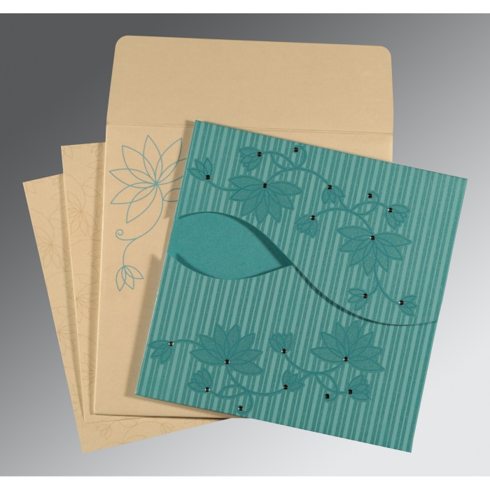 TURQUOISE SHIMMERY FLORAL THEMED - SCREEN PRINTED WEDDING INVITATION : IN-8251A - 123WeddingCards