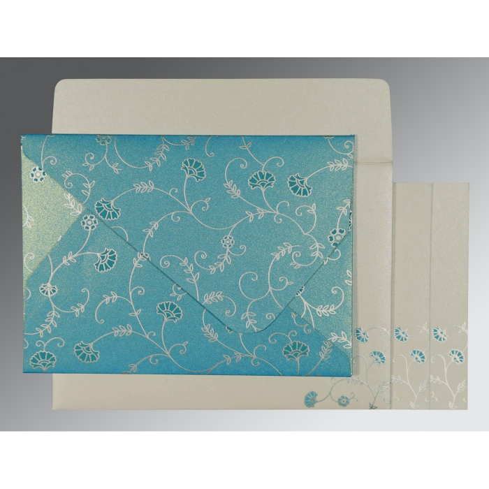 Blue Shimmery Floral Themed - Screen Printed Wedding Invitation : RU-8248F - 123WeddingCards
