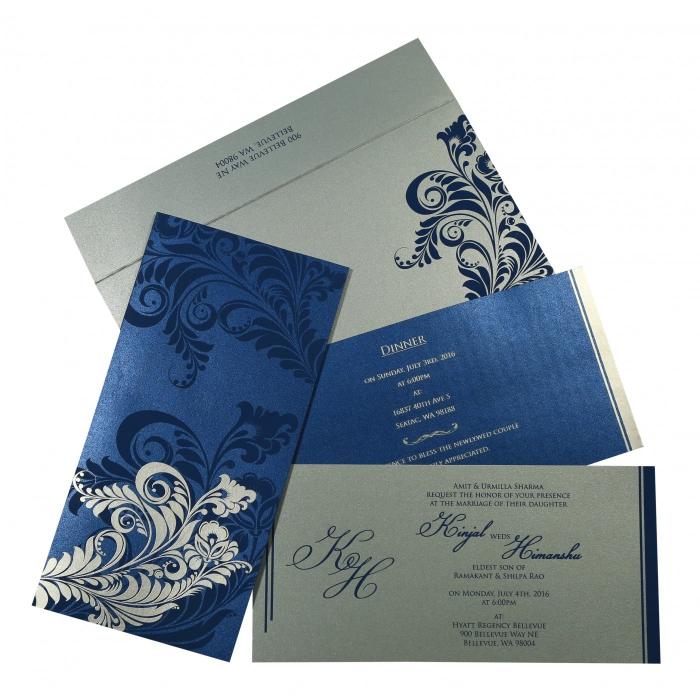 Blue Shimmery Floral Themed - Screen Printed Wedding Card : RU-8259E - 123WeddingCards