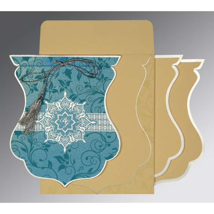 TURQUOISE BLUE SHIMMERY FLORAL THEMED - SCREEN PRINTED WEDDING CARD : W-8229M - 123WeddingCards