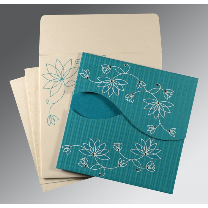 TURQUOISE BLUE SHIMMERY FLORAL THEMED - SCREEN PRINTED WEDDING INVITATION : W-8251G - 123WeddingCards