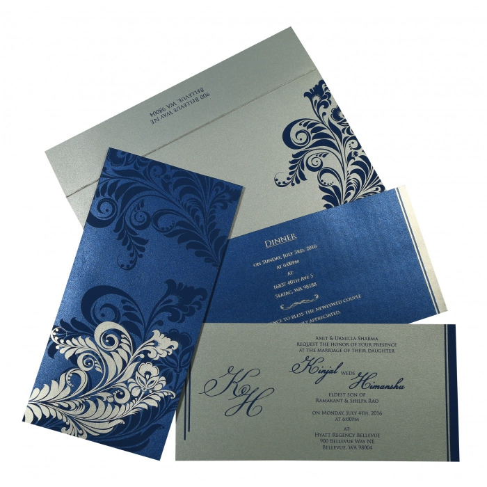 DARK BLUE SHIMMERY FLORAL THEMED - SCREEN PRINTED WEDDING CARD : W-8259E - 123WeddingCards