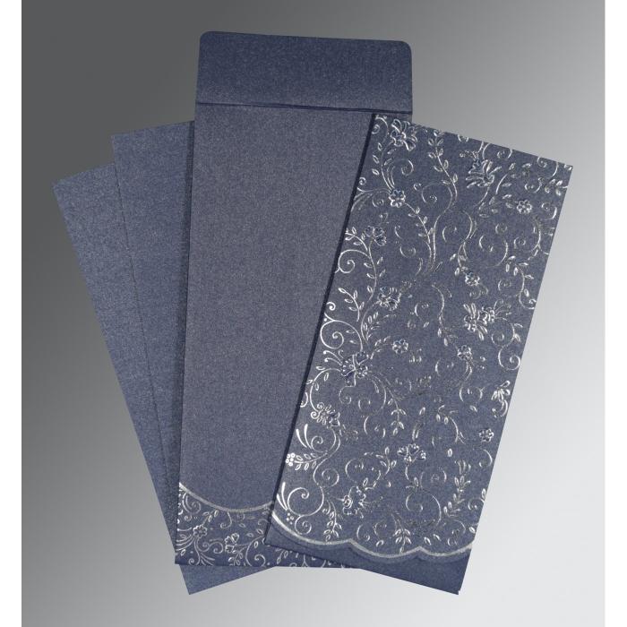Blue Shimmery Foil Stamped Wedding Invitation : IN-1392 - 123WeddingCards