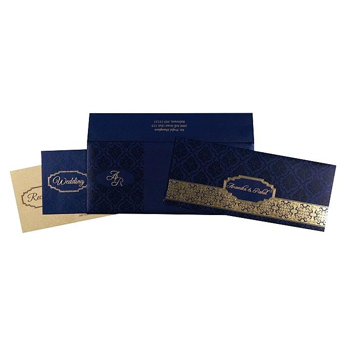 Blue Shimmery Foil Stamped Wedding Invitation : W-1718 - 123WeddingCards