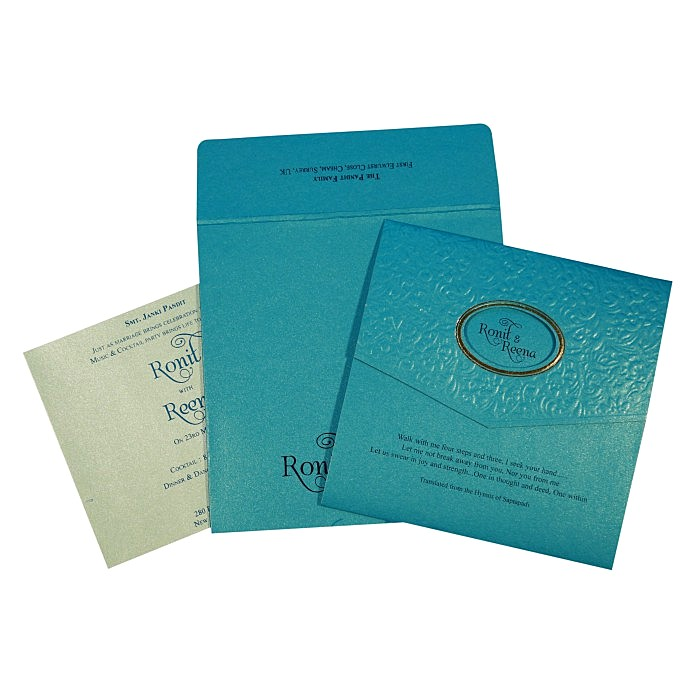 TURQUOISE BLUE SHIMMERY FOIL STAMPED WEDDING INVITATION : W-1737 - 123WeddingCards
