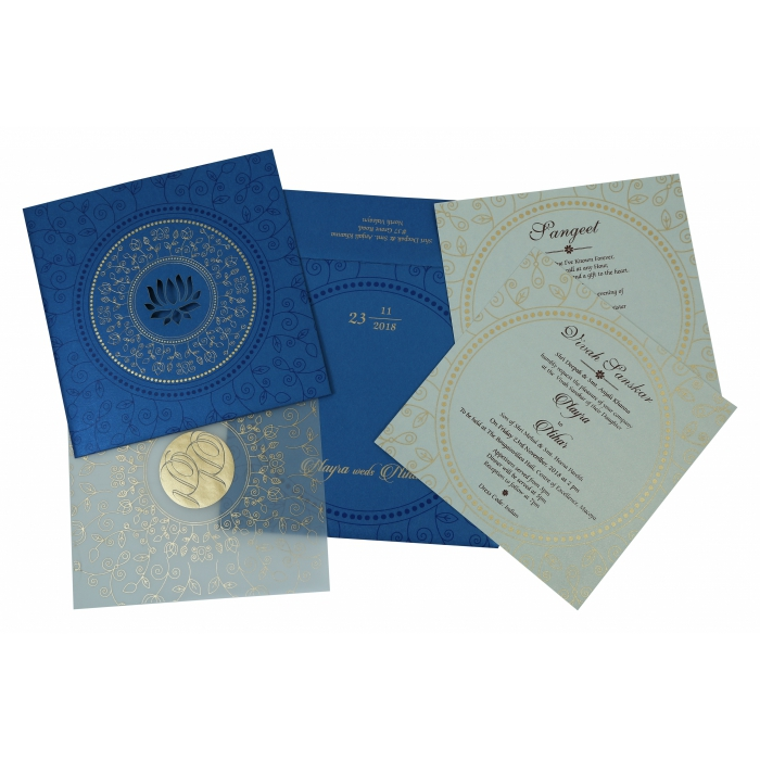 Blue Shimmery Laser Cut Wedding Invitation : W-1779 - 123WeddingCards