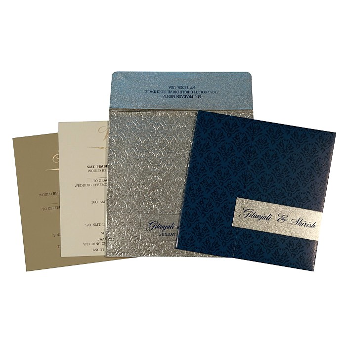 Blue Shimmery Paisley Themed - Screen Printed Wedding Card : D-1702 - 123WeddingCards