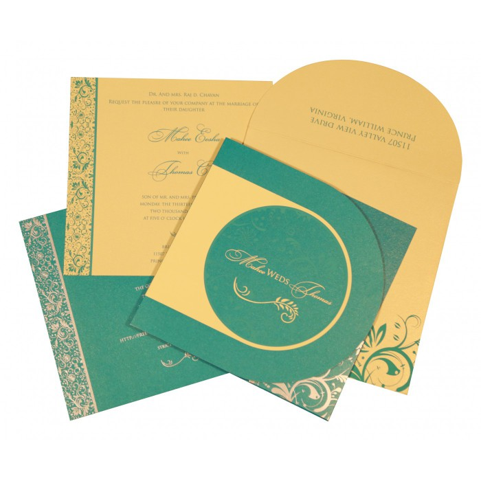 STRONG TURQUOISE SHIMMERY PAISLEY THEMED - SCREEN PRINTED WEDDING CARD : IN-8264C - 123WeddingCards