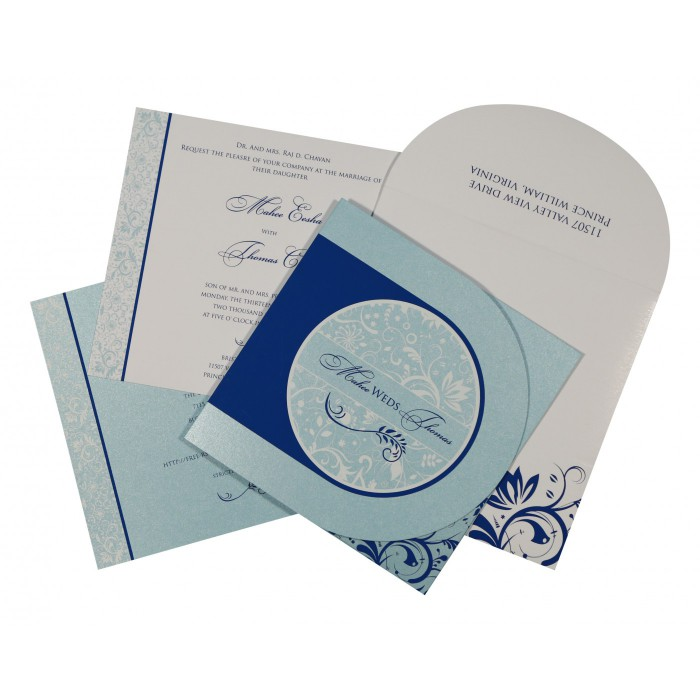 SKY BLUE SHIMMERY FLORAL THEMED - SCREEN PRINTED WEDDING CARD : W-8264H - 123WeddingCards