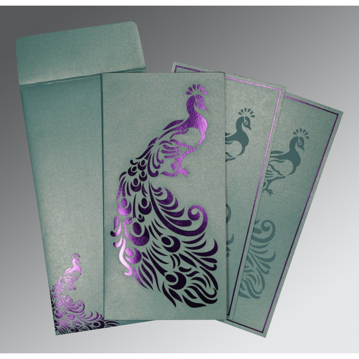 MOON STONE SHIMMERY PEACOCK THEMED - LASER CUT WEDDING INVITATION : IN-8255E - 123WeddingCards