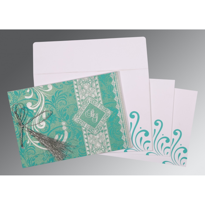 TURQUOISE BLUE SHIMMERY SCREEN PRINTED WEDDING CARD : C-8223H - 123WeddingCards