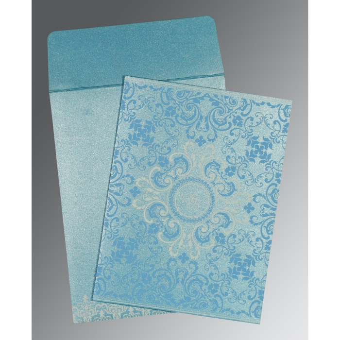 TURQUOISE SHIMMERY SCREEN PRINTED WEDDING CARD : C-8244F - 123WeddingCards