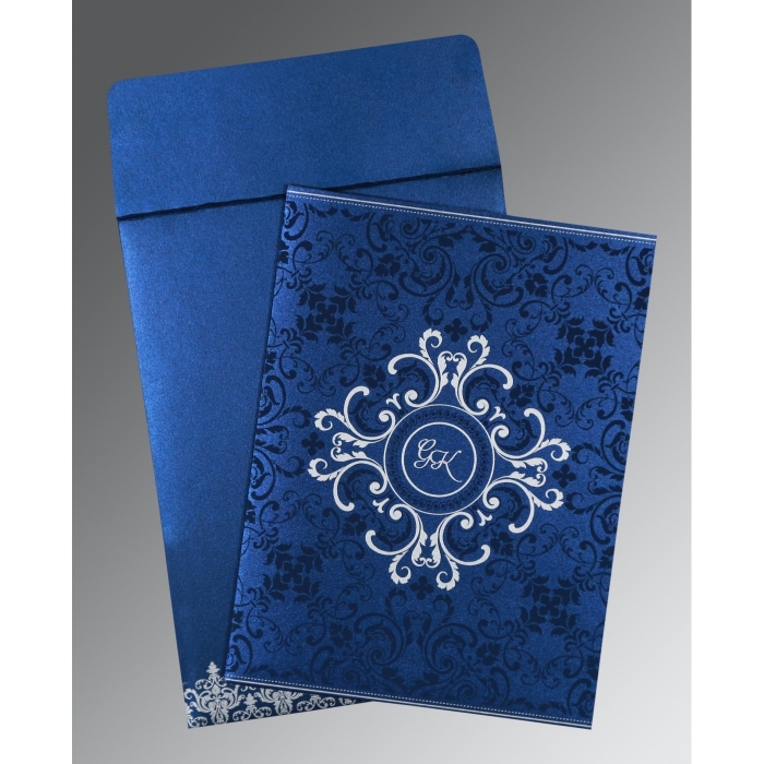 COBALT BLUE SHIMMERY SCREEN PRINTED WEDDING CARD : D-8244K - 123WeddingCards