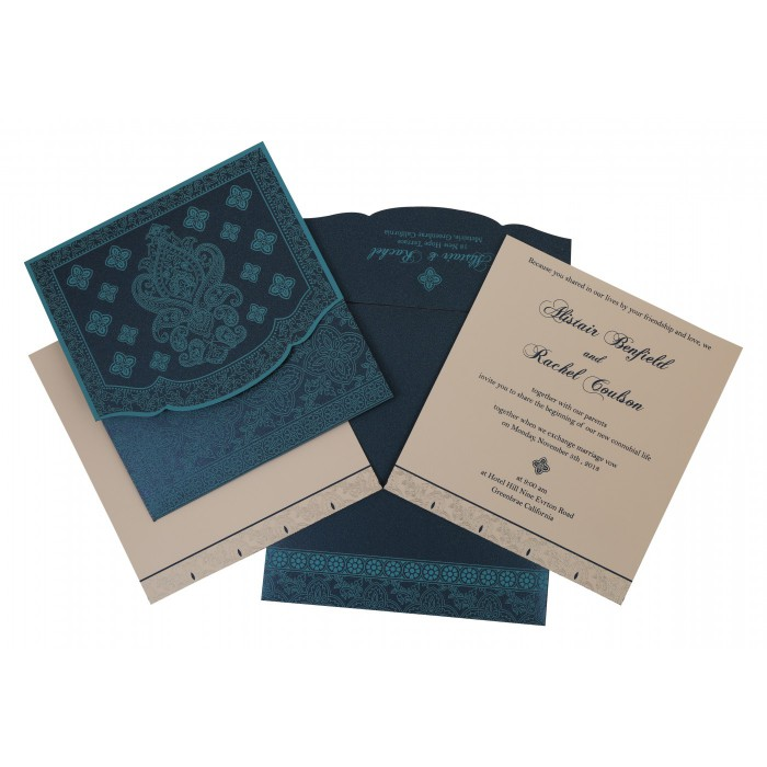 TEAL BLUE SHIMMERY SCREEN PRINTED WEDDING INVITATION : W-800C - 123WeddingCards