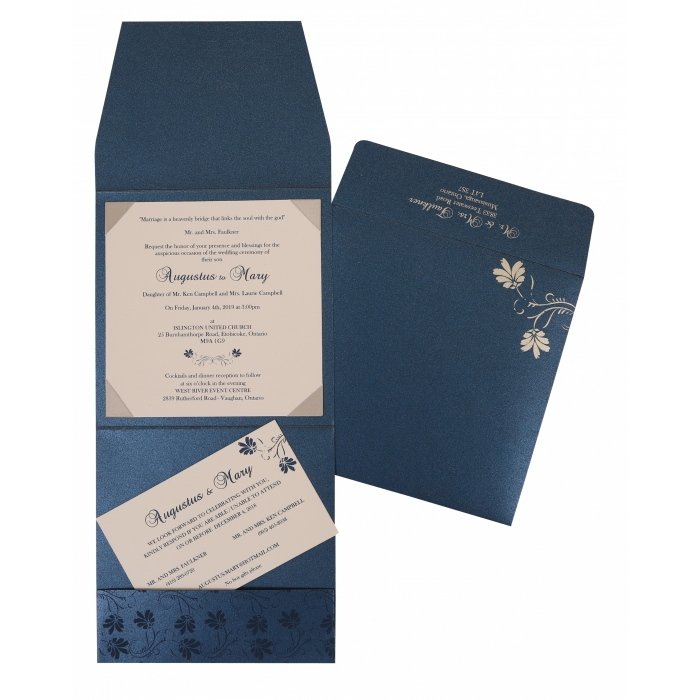 MIDNIGHT BLUE SHIMMERY SCREEN PRINTED WEDDING INVITATION : W-803D - 123WeddingCards