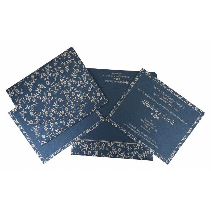 Blue Shimmery Screen Printed Wedding Invitation : W-804D - 123WeddingCards