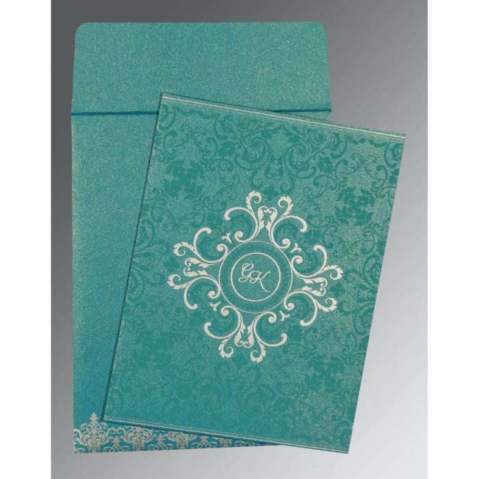 TEAL BLUE SHIMMERY SCREEN PRINTED WEDDING CARD : W-8244C - 123WeddingCards