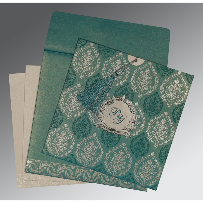 TEAL BLUE SHIMMERY UNIQUE THEMED - FOIL STAMPED WEDDING CARD : W-8249D - 123WeddingCards