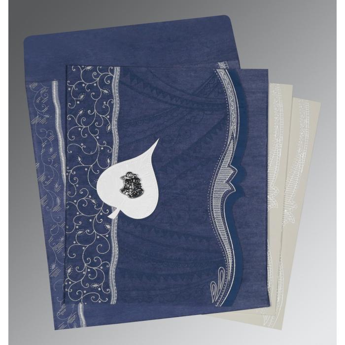 INDIGO BLUE SHIMMERY EMBOSSED WEDDING CARD : C-8210H - 123WeddingCards