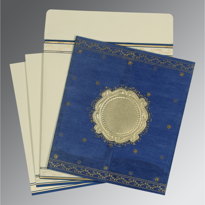 Blue Wooly Embossed Wedding Invitation : D-8202I - 123WeddingCards