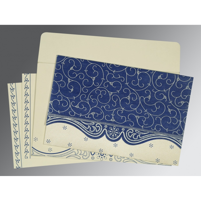 Blue Wooly Embossed Wedding Invitations : D-8221C - 123WeddingCards