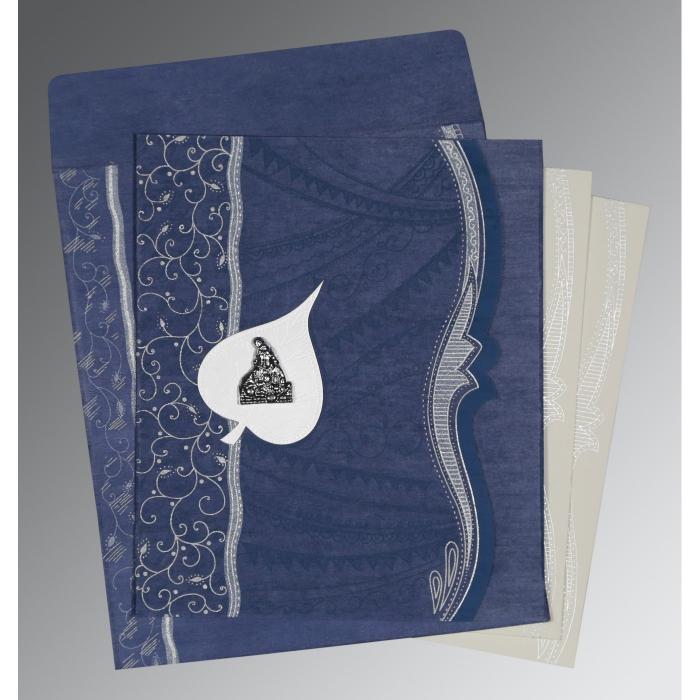 Blue Wooly Embossed Wedding Card : G-8210H - 123WeddingCards