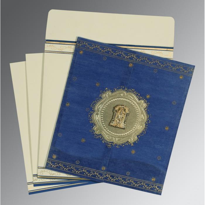 Blue Wooly Embossed Wedding Invitation : SO-8202I - 123WeddingCards