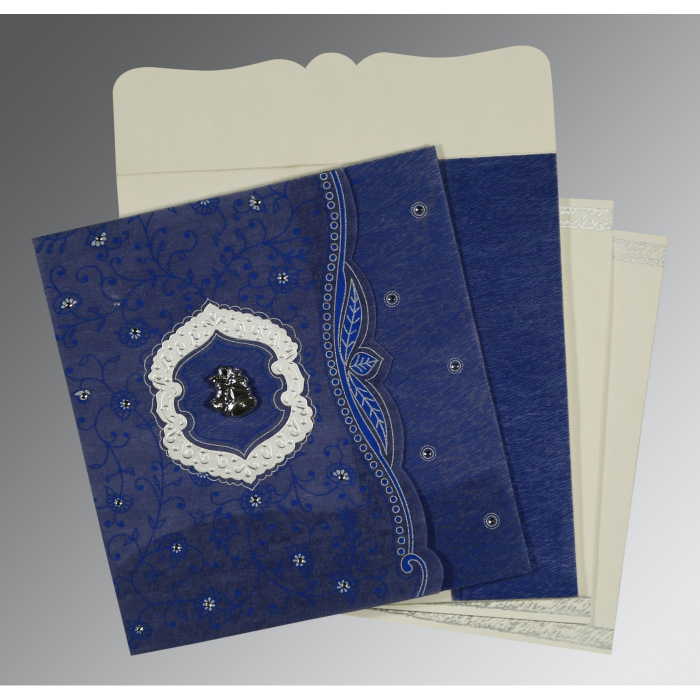 COBALT BLUE SHIMMERY FLORAL THEMED - EMBOSSED WEDDING CARD : C-8209J - 123WeddingCards
