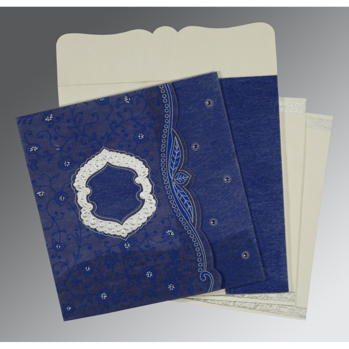 COBALT BLUE SHIMMERY FLORAL THEMED - EMBOSSED WEDDING CARD : D-8209J - 123WeddingCards