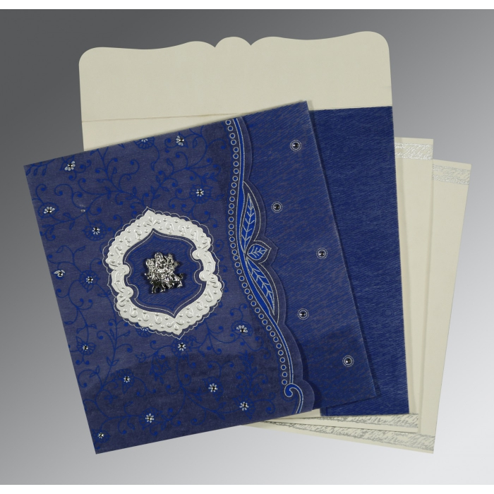 Blue Wooly Floral Themed - Embossed Wedding Card : G-8209J - 123WeddingCards