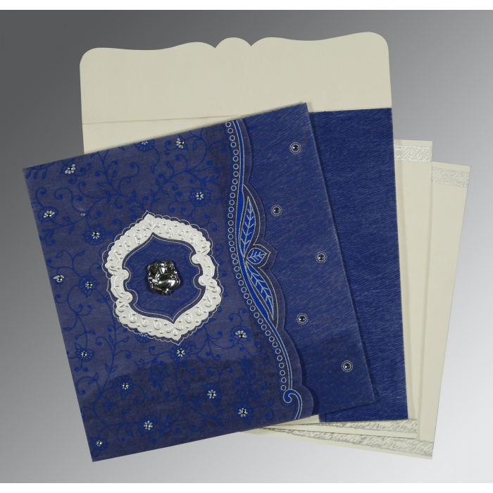 COBALT BLUE SHIMMERY FLORAL THEMED - EMBOSSED WEDDING CARD : W-8209J - 123WeddingCards