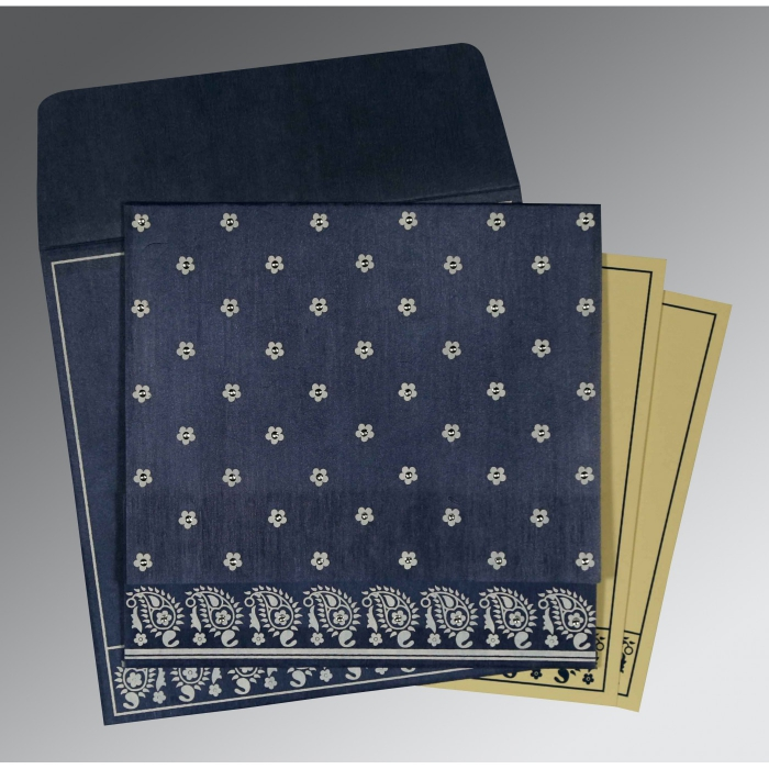 Blue Wooly Floral Themed - Screen Printed Wedding Card : D-8218K - 123WeddingCards