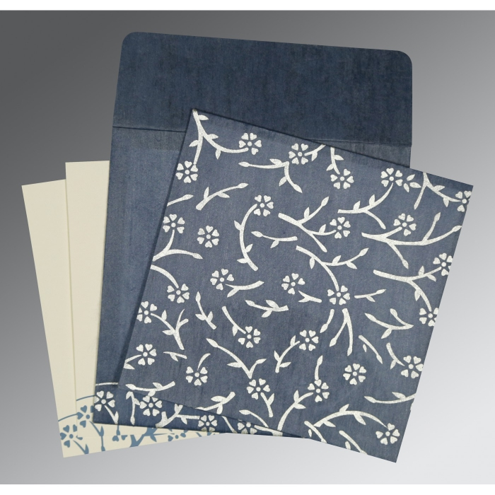 Blue Wooly Floral Themed - Screen Printed Wedding Invitation : IN-8216D - 123WeddingCards