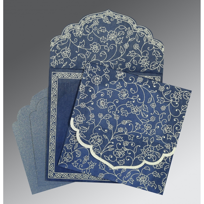 Blue Wooly Floral Themed - Screen Printed Wedding Invitation : RU-8211P - 123WeddingCards