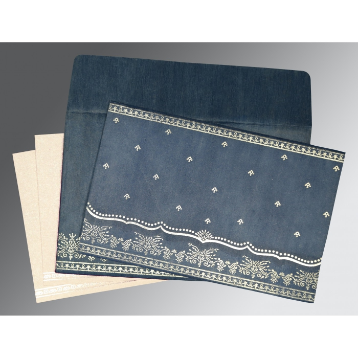 SMOKE BLUE WOOLY FOIL STAMPED WEDDING INVITATION : D-8241P - 123WeddingCards