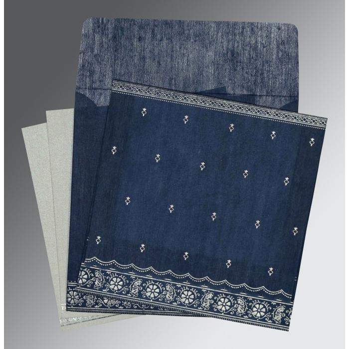Blue Wooly Foil Stamped Wedding Card : I-8242J - 123WeddingCards